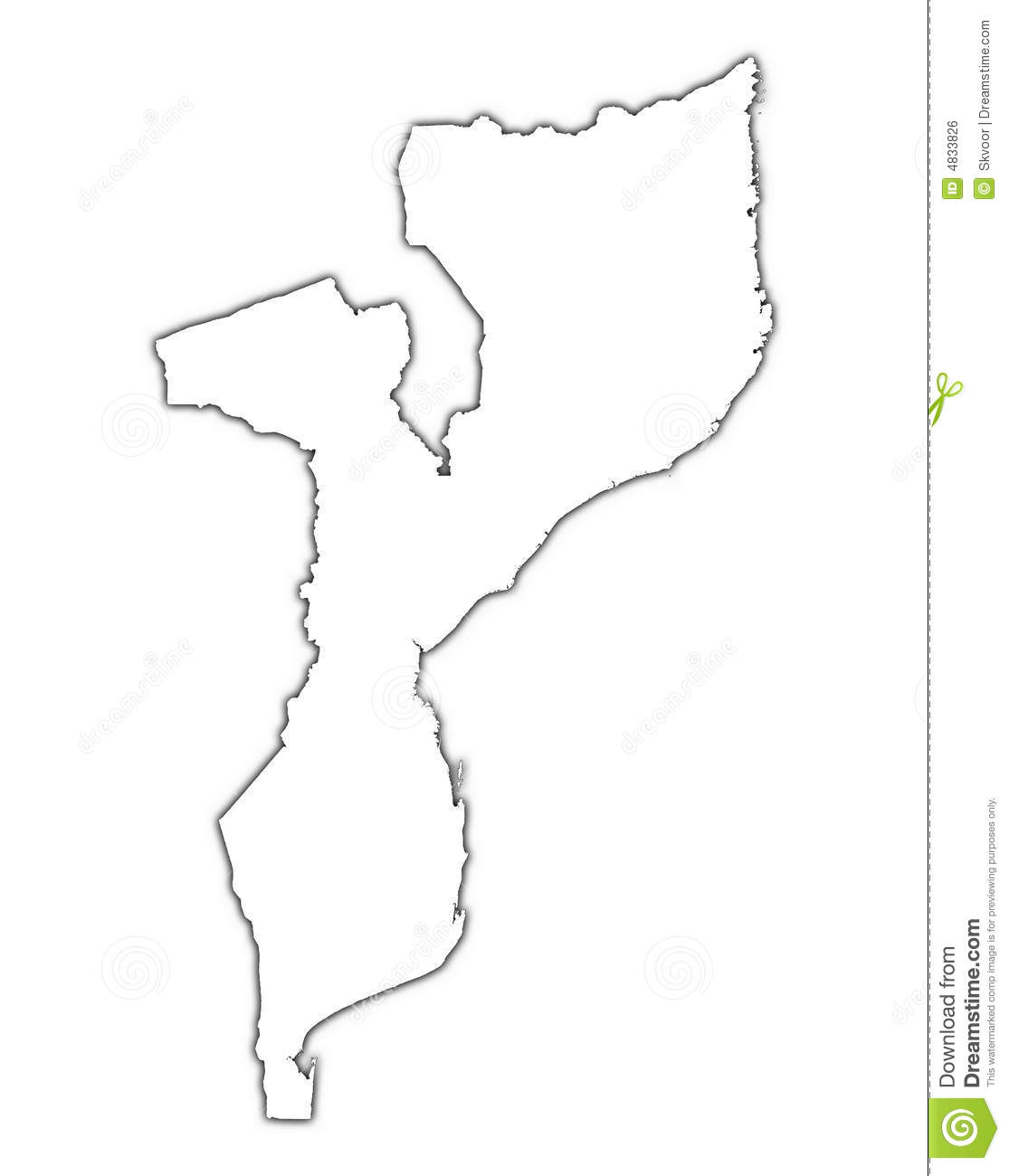 Mozambique Outline Map Stock Illustration Image Of