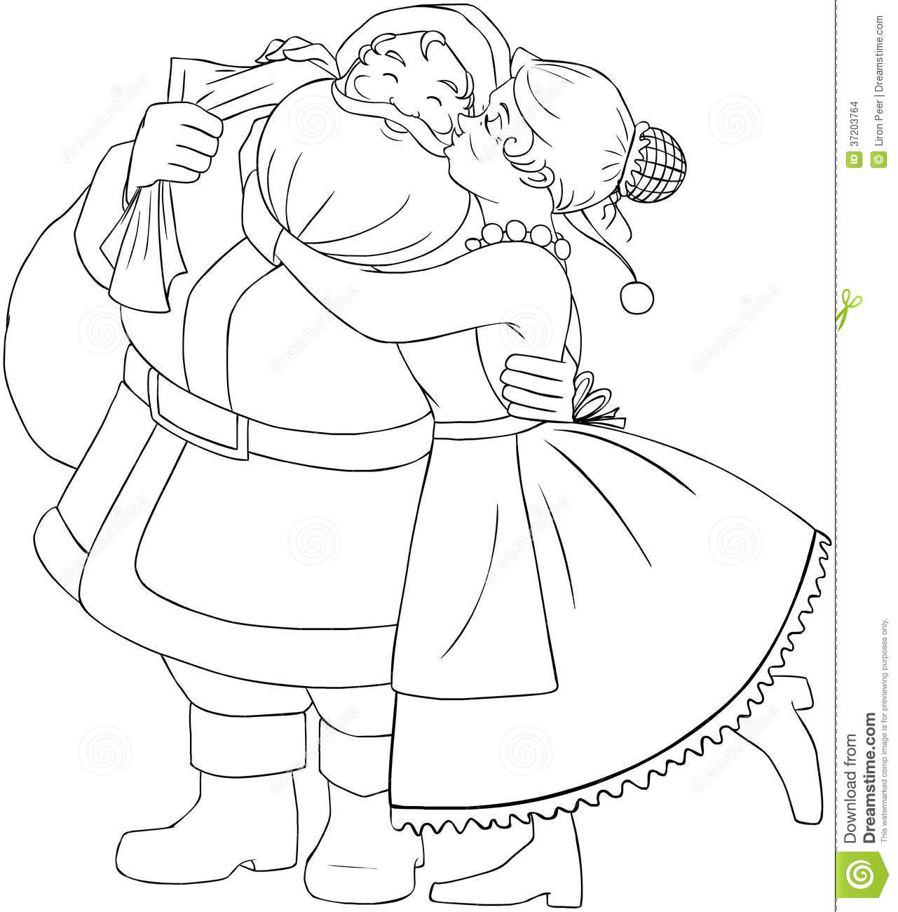 mrs claus kisses santa on cheek and hugs coloring stock images image