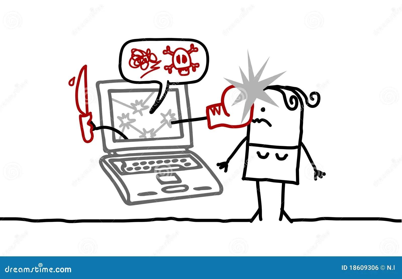 Mujer Y El Cyberbullying Ilustracion Del Vector