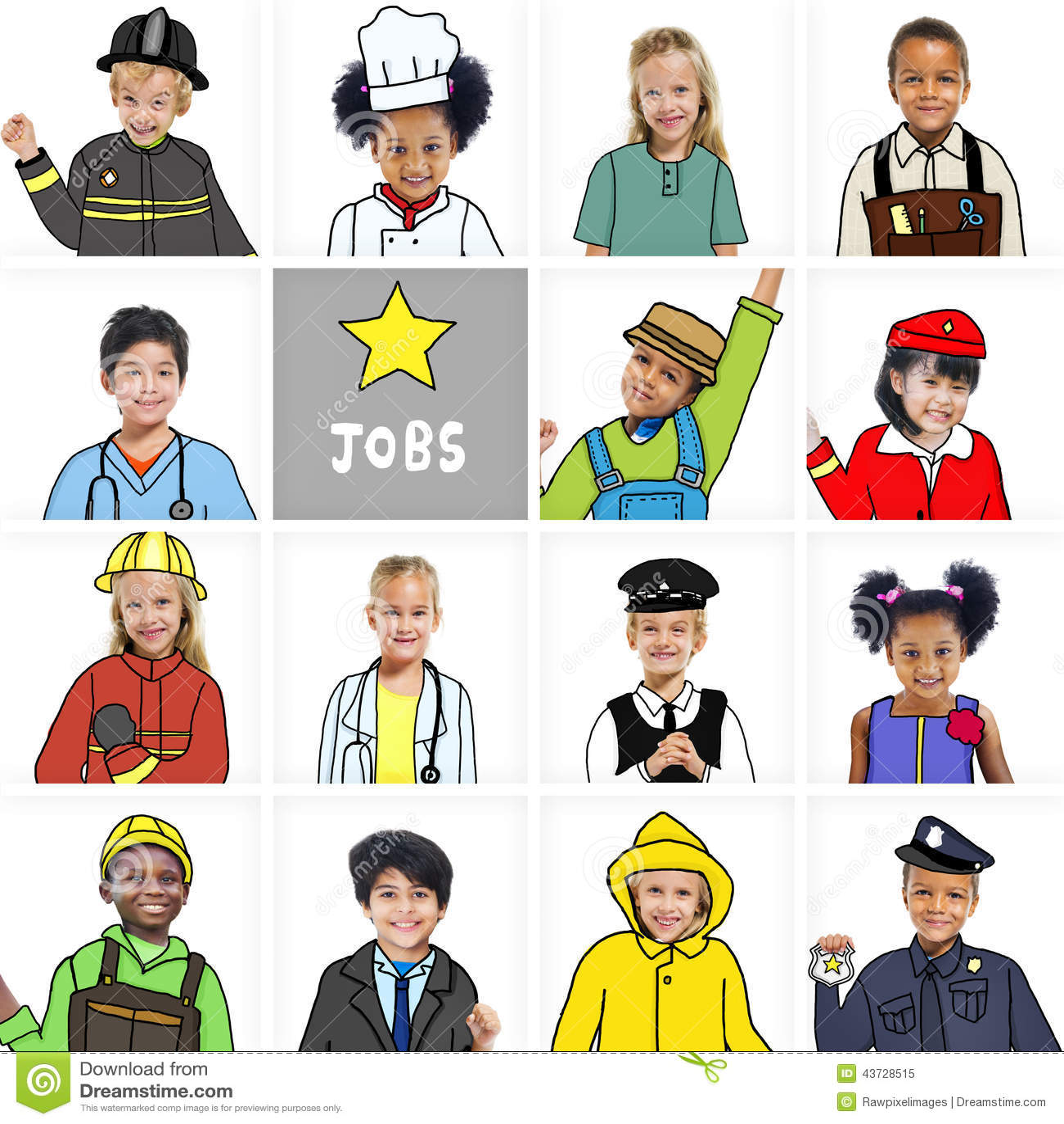 Multiethnic Children With Various Jobs Concepts Stock