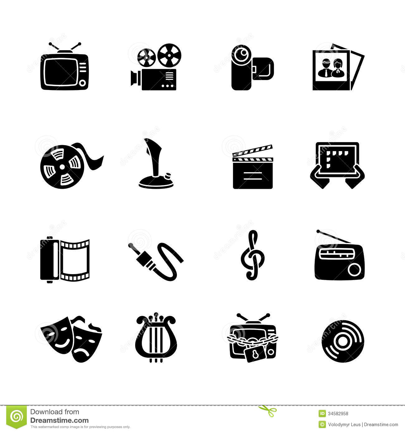 Multimedia Computer Icon Set Royalty Free Stock Photos