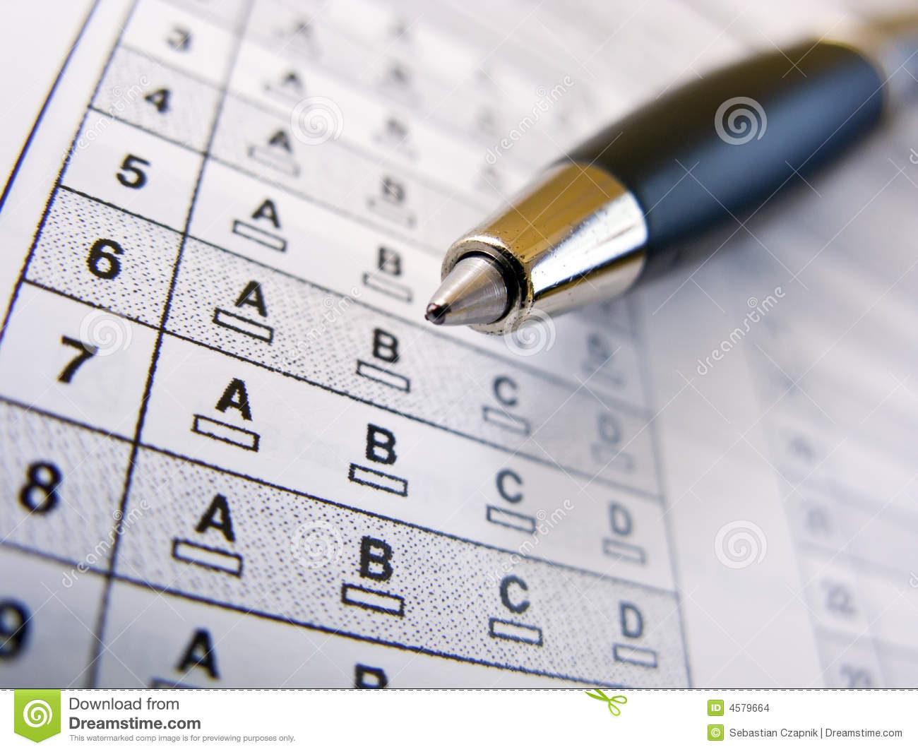 Multiple Choice Test Stock Photo Image Of Numbered Skills