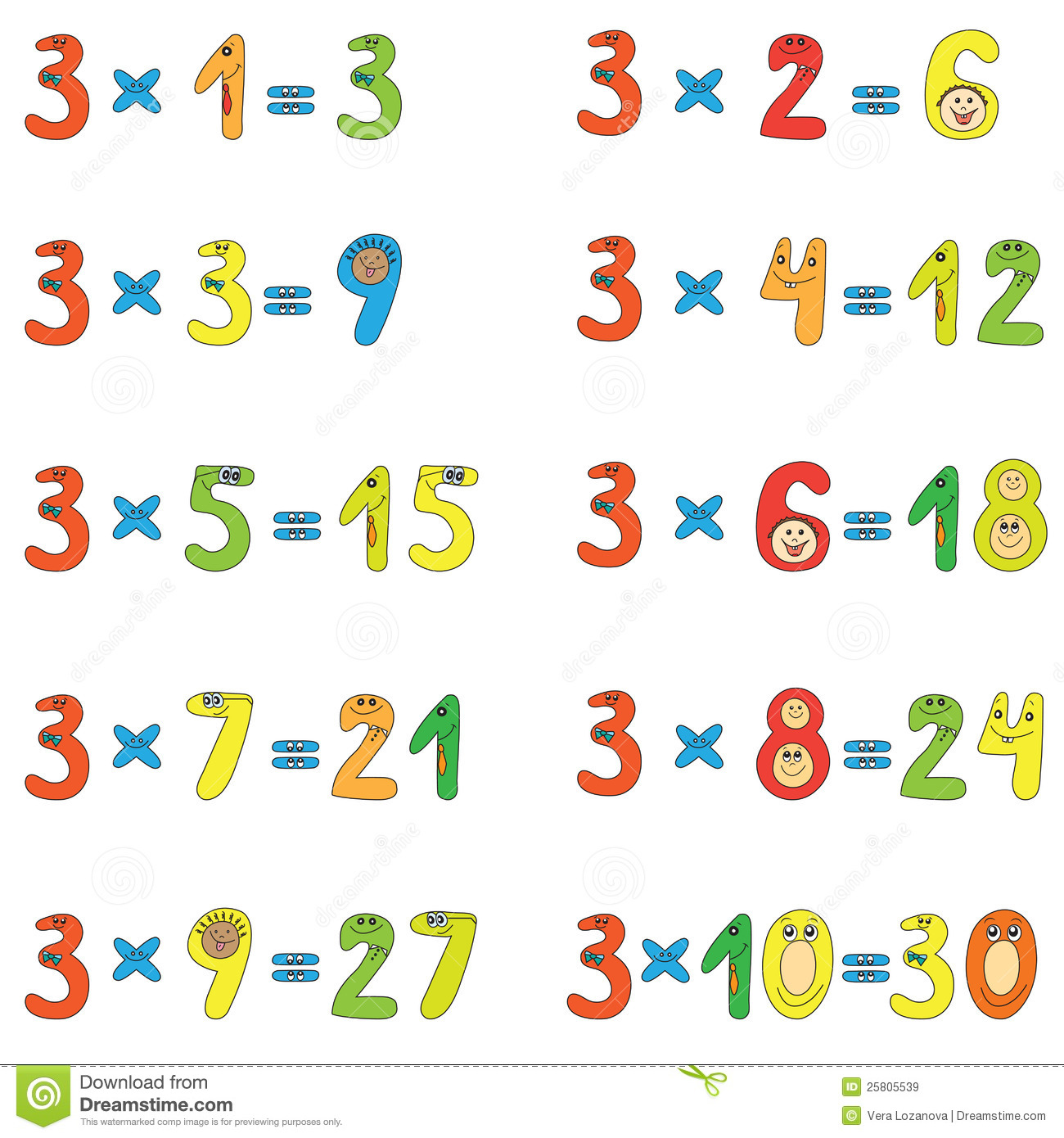Multiplication Table Of 3 Stock Vector Illustration Of Preschool
