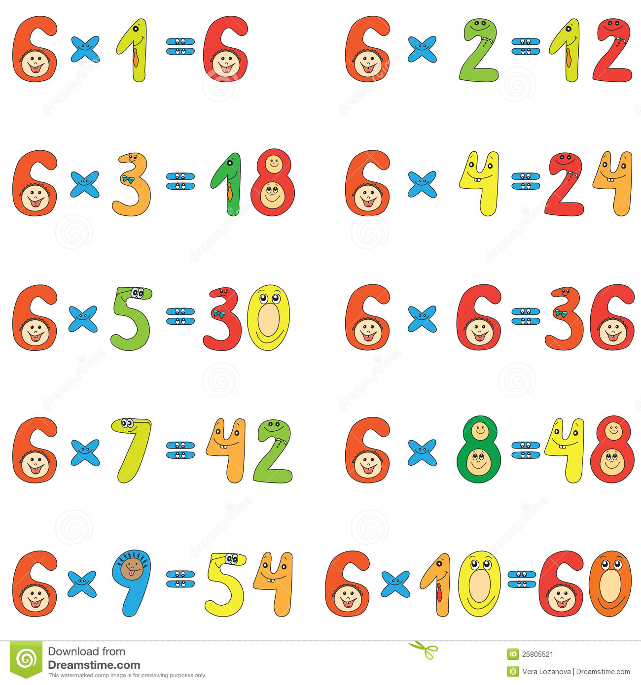 Multiplication Table Of 6 Stock Image