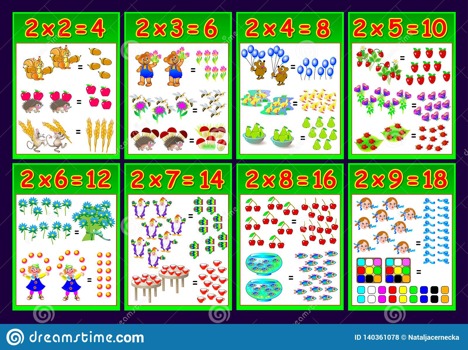Multiplication Table By 2 For Kids Educational Page For Math Book Printable Worksheet For