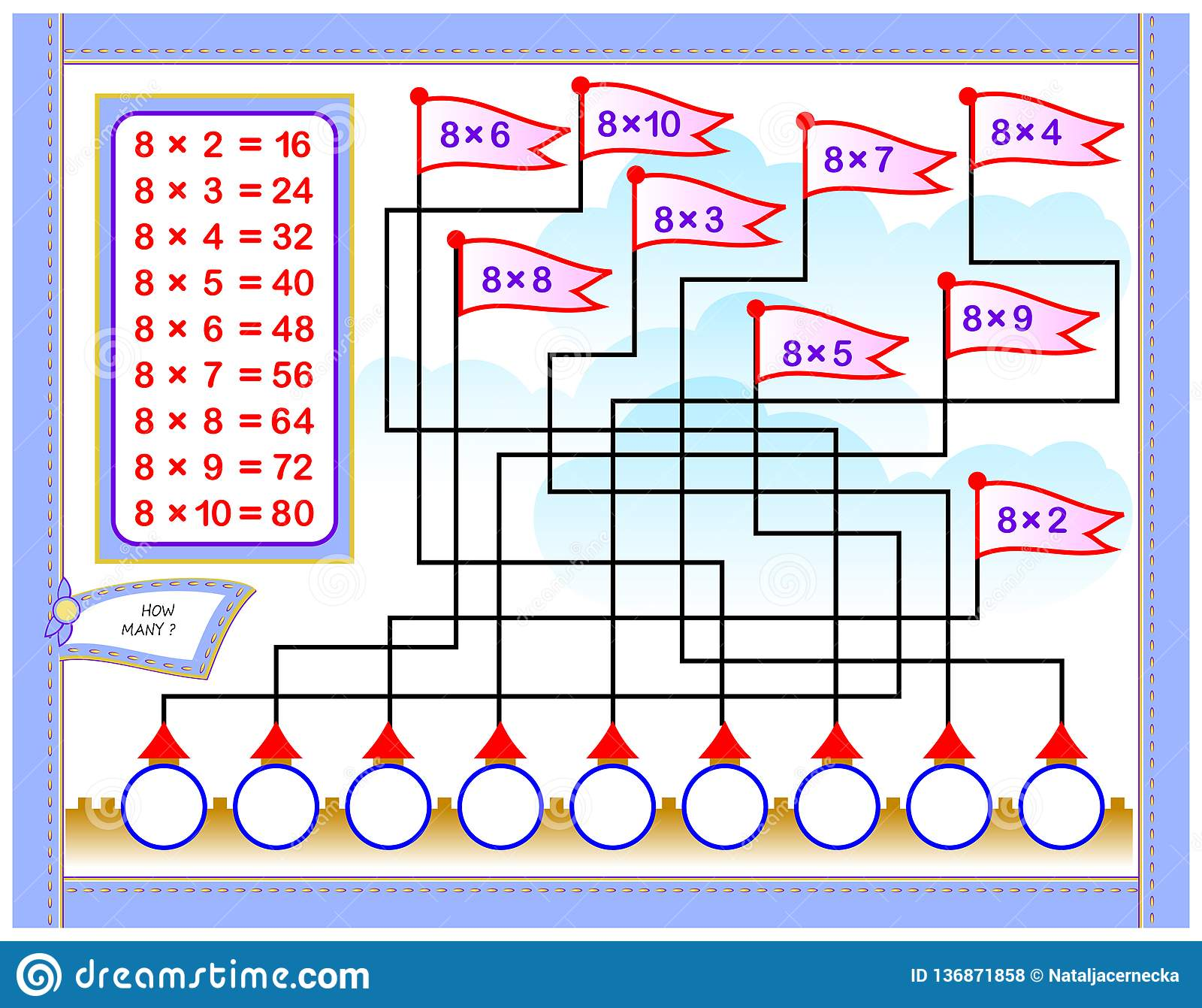 Multiplication Table By 8 For Kids Write The Numbers In