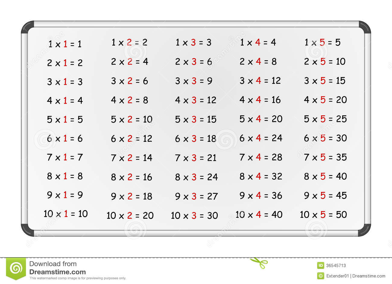 Multiplication Table On Whiteboard Part 1 Stock Vector