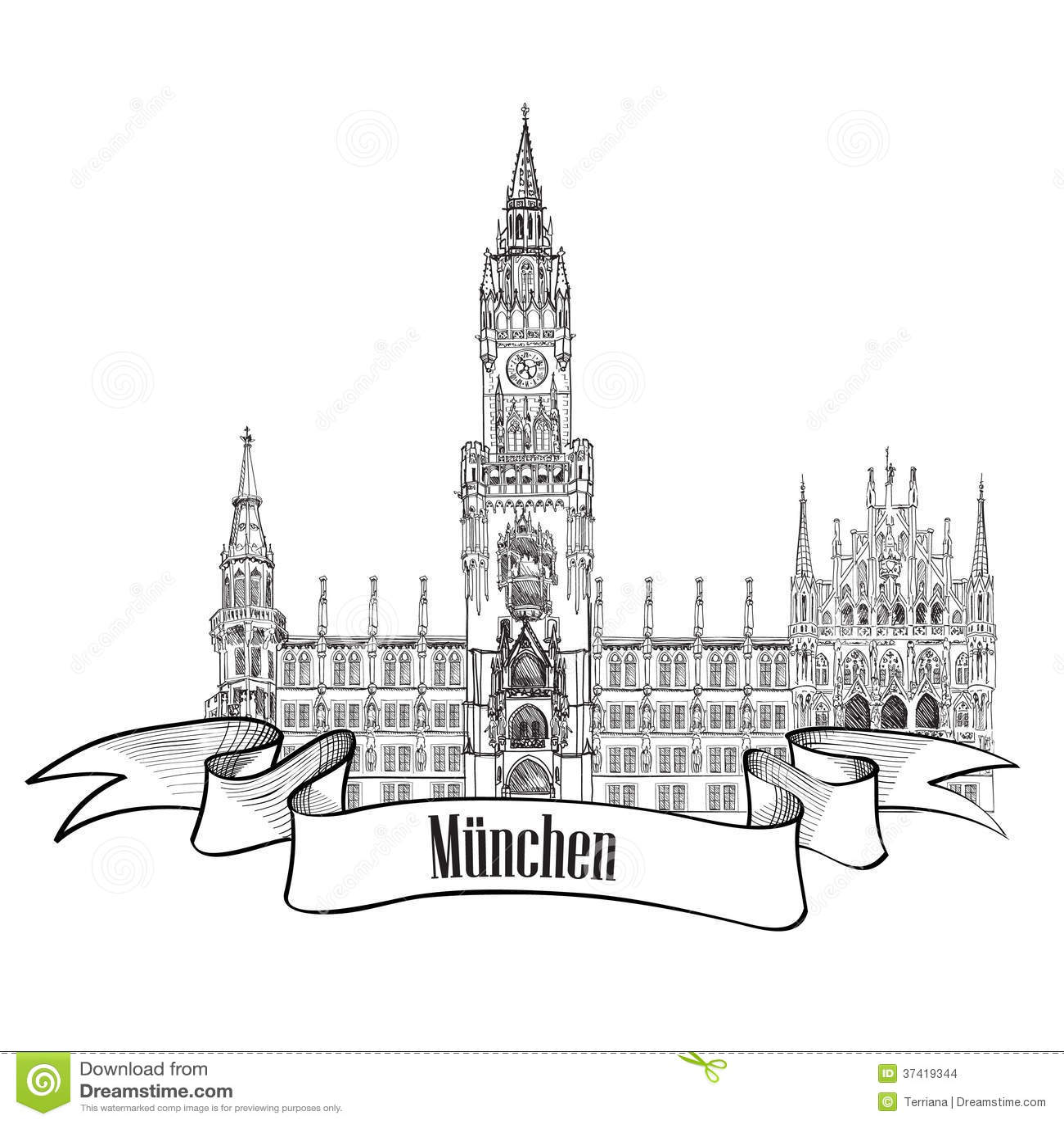 Munich Germany Travel Label Illustration Stock