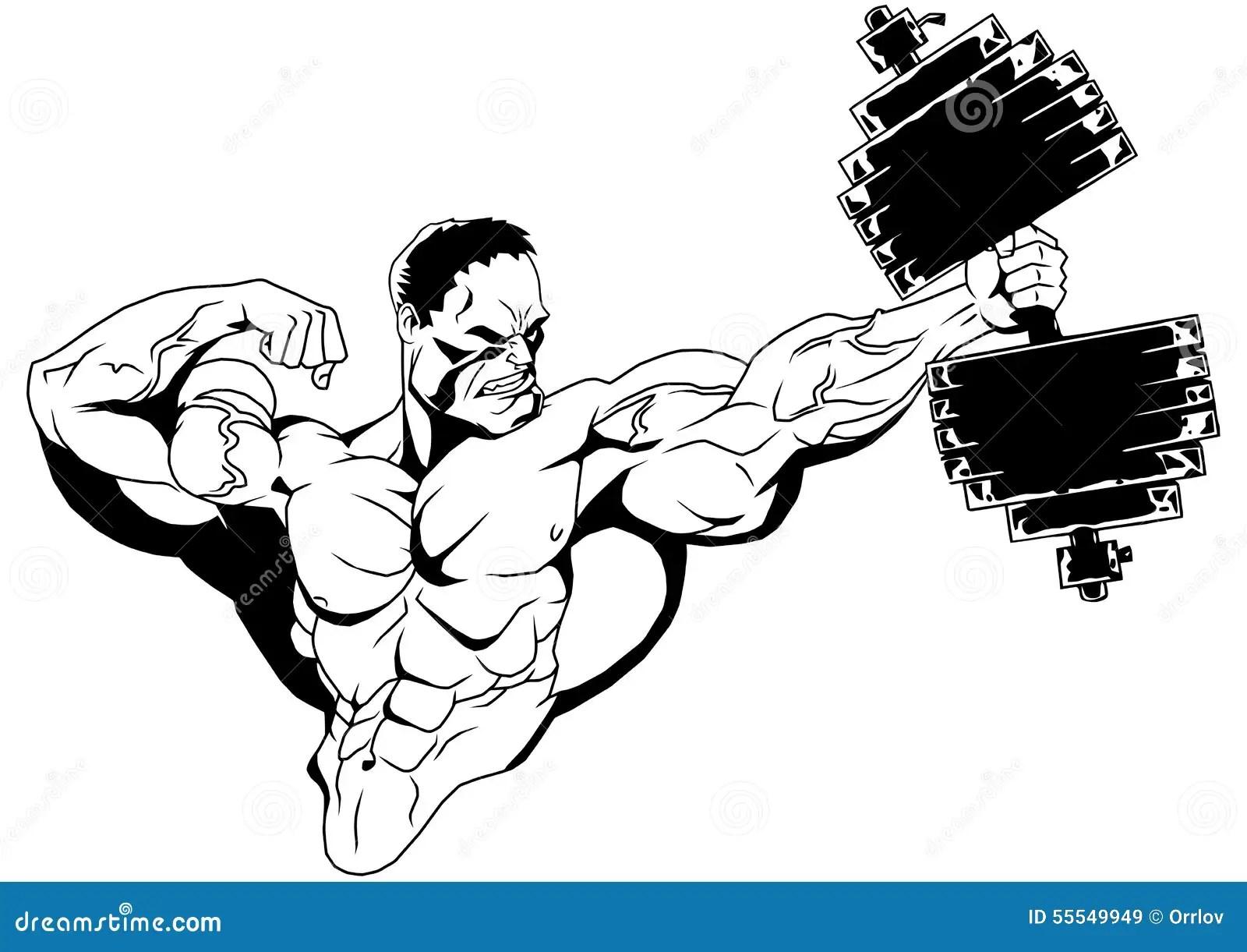 Muscular Bodybuilder With Dumbbells Stock Vector