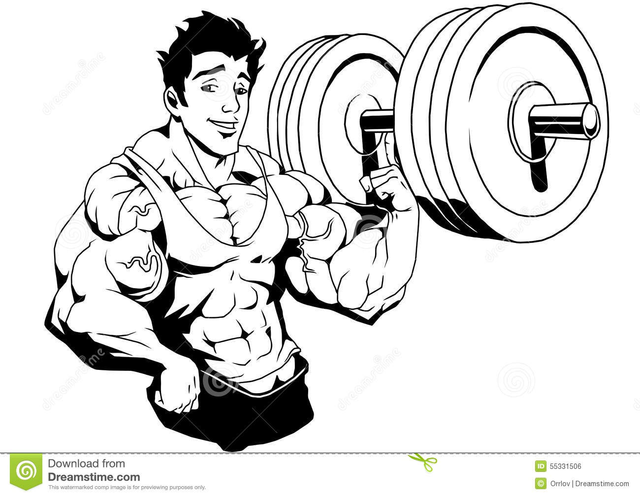 Muscular Bodybuilder Lifted Weight One Finger Stock Vector