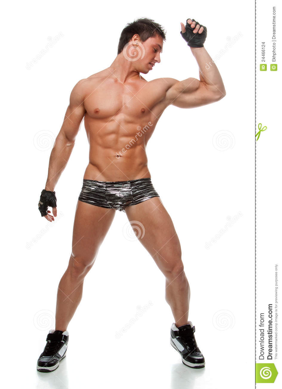 Muscular Sexy Naked Man Dancing In The Studio Stock Images