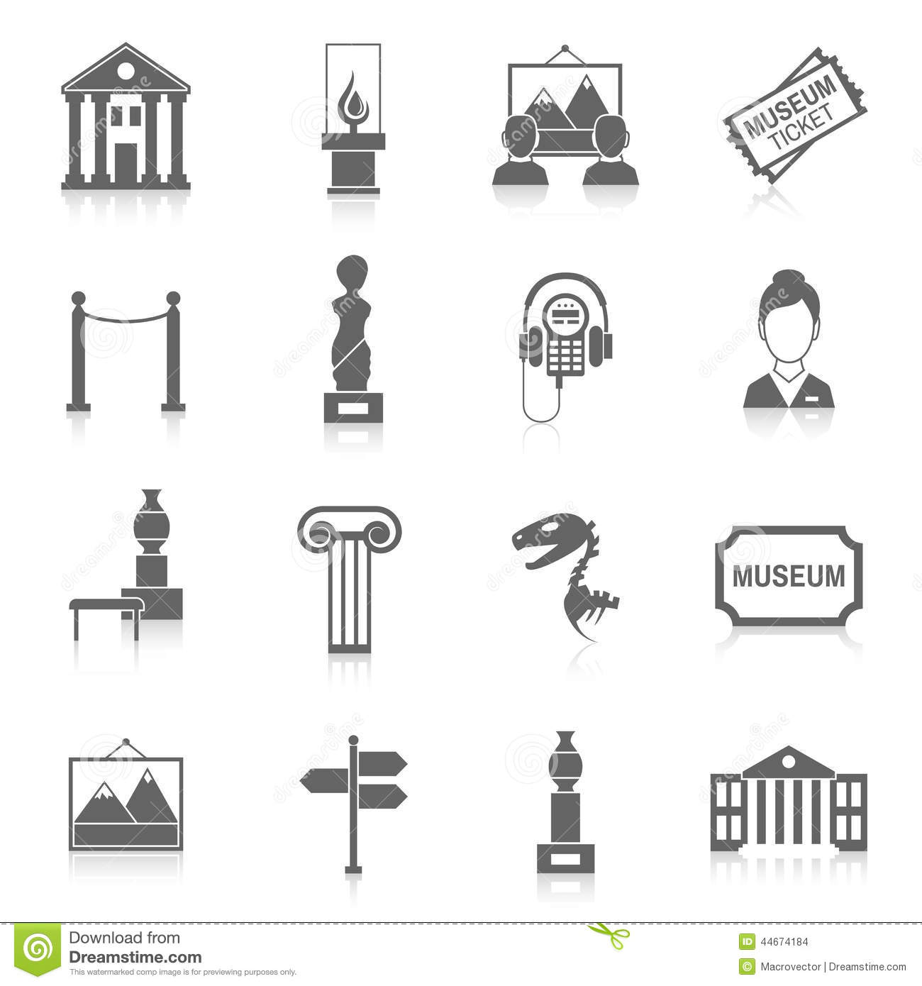 Museum Icons Black Stock Vector Illustration Of Artist