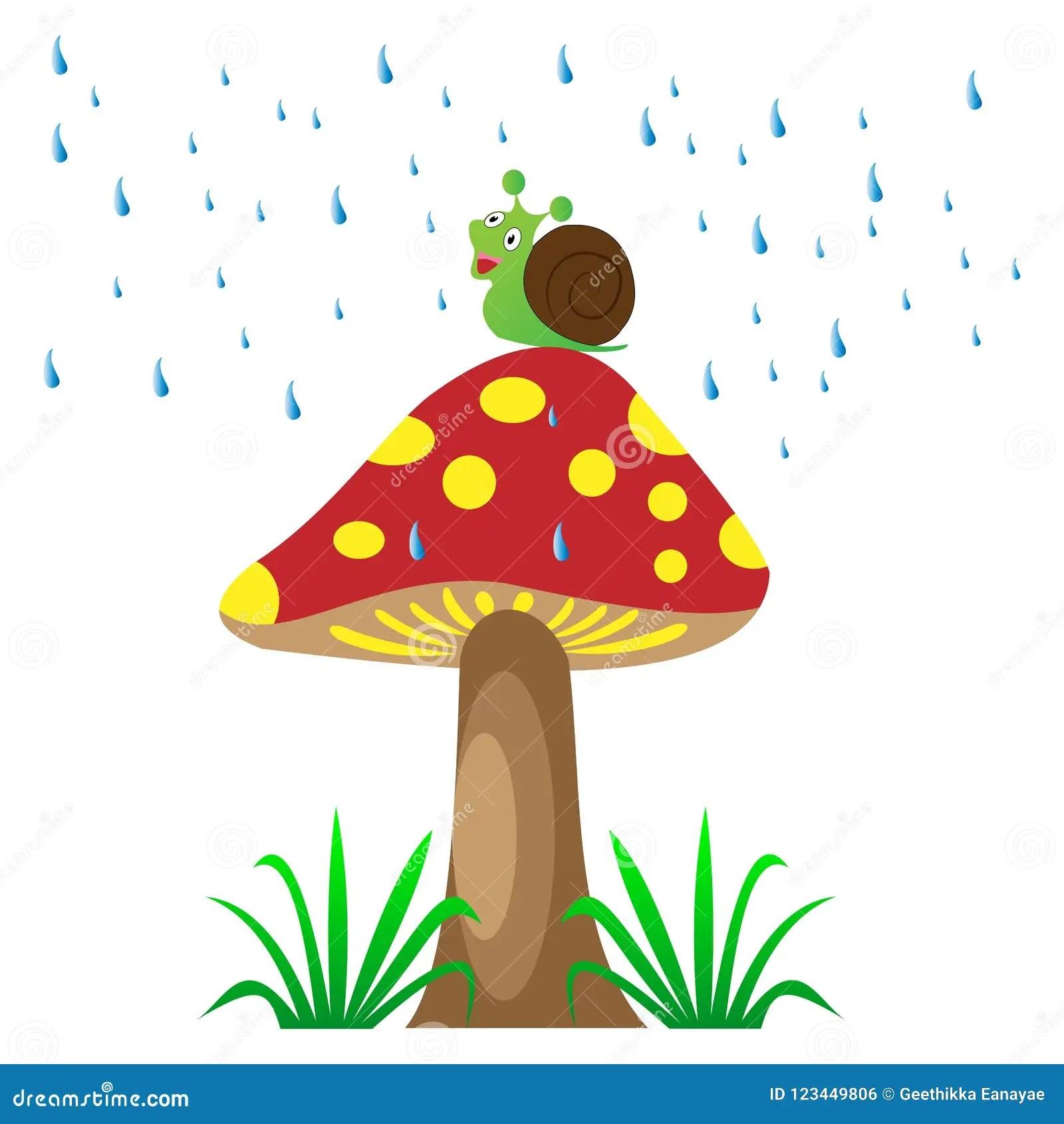 Mushroom In The Rain With The Snail Stock Vector