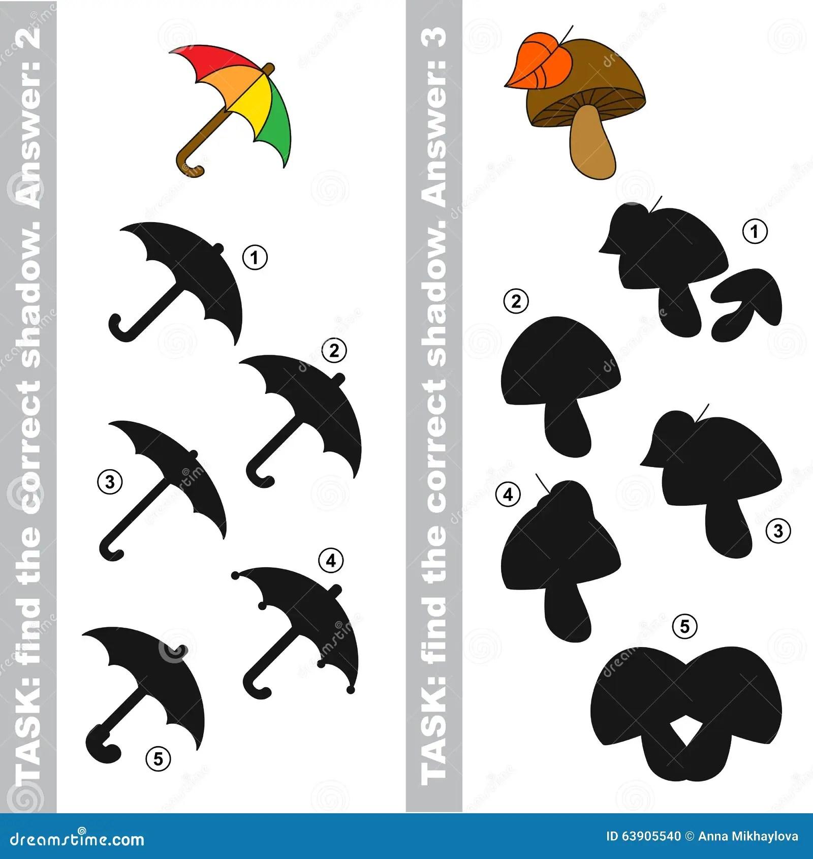 Mushroom And Umbrella Find True Correct Shadow Stock
