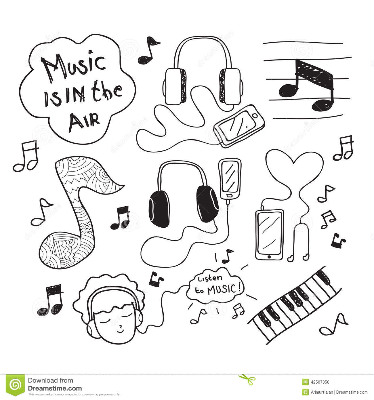 Music Doodle Drawing Stock Vector Illustration Of Enjoy