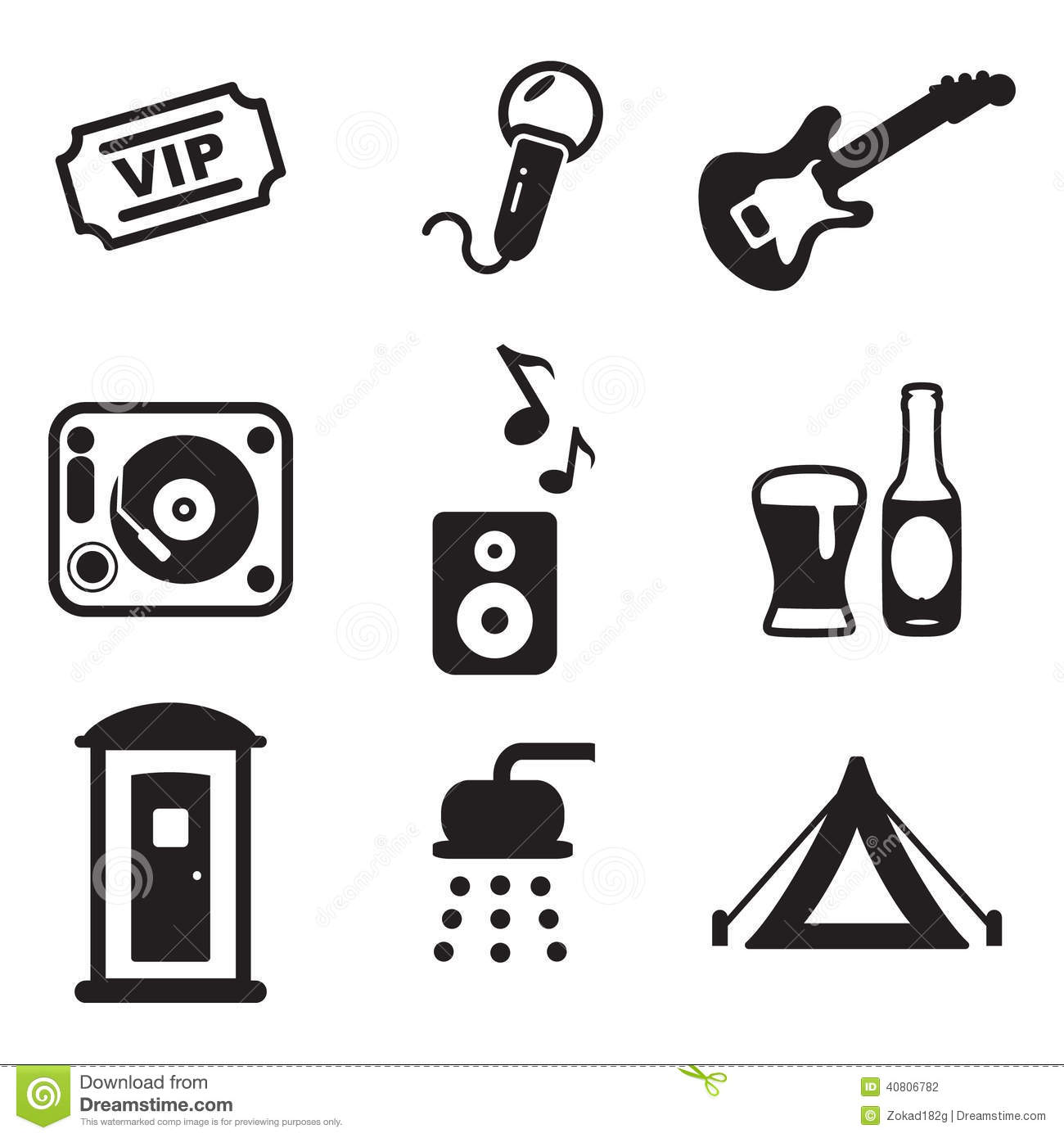 Music Festival Icons Stock Vector