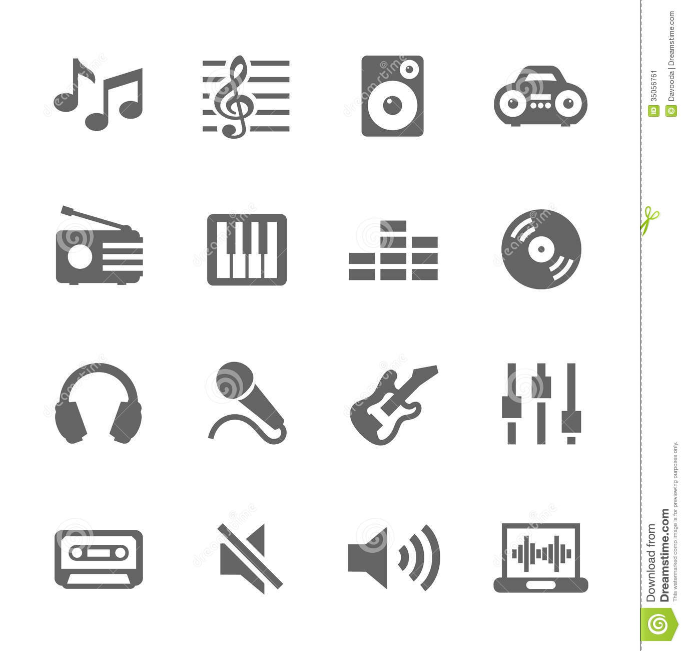 Music Icons Set Stock Vector Image Of Broadcasting