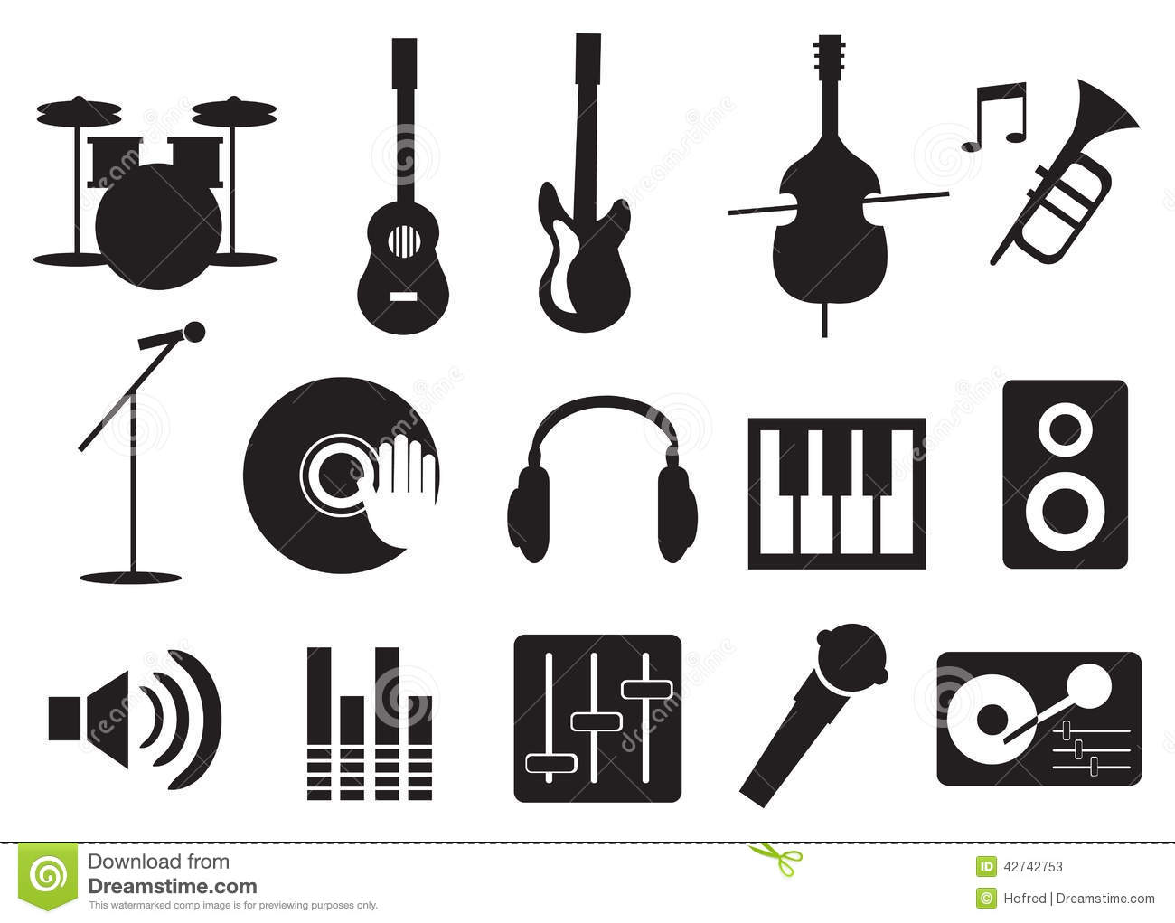 Music Instrument And Tools Icons Stock Vector