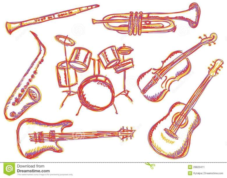 music instruments doodles stock vector. illustration of drawing