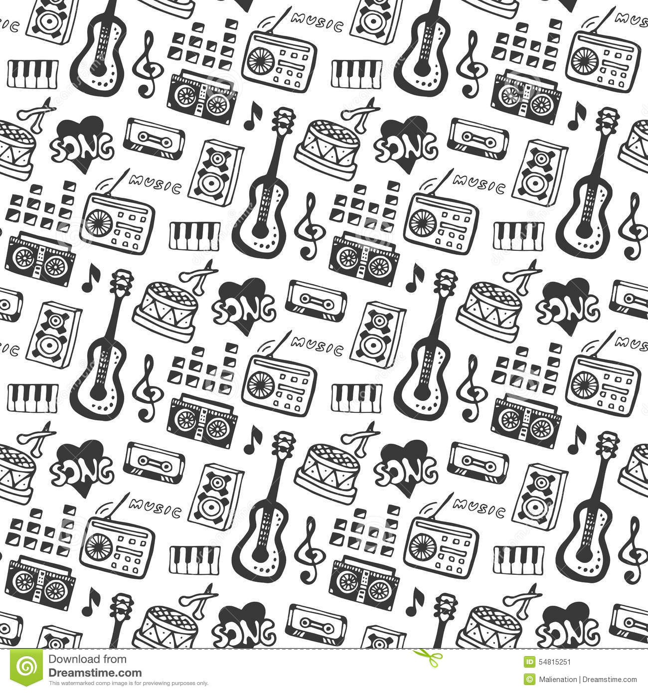 Music Seamless Pattern With Doodle Musical Instruments And