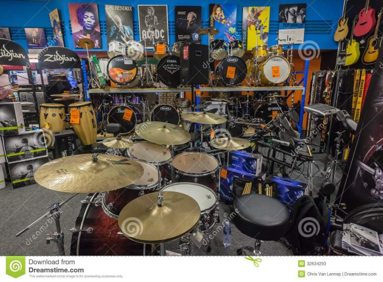 music shop drums guitars editorial stock photo. image of sale - 32634293