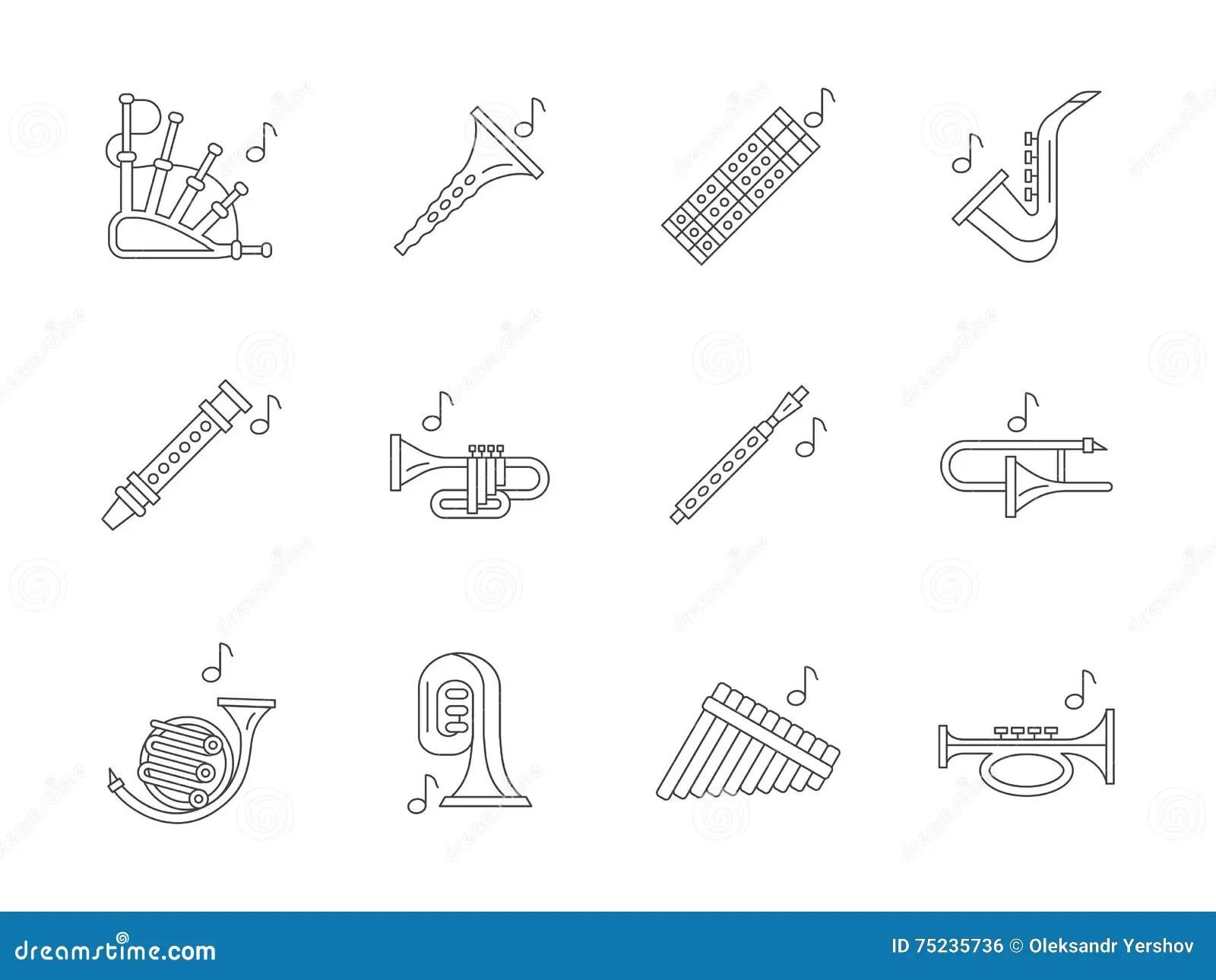 Trombone Icon Flat Style Vector Illustration