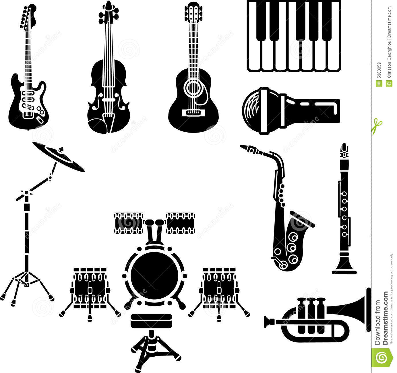 Musical Instrument Icon Set Stock Vector