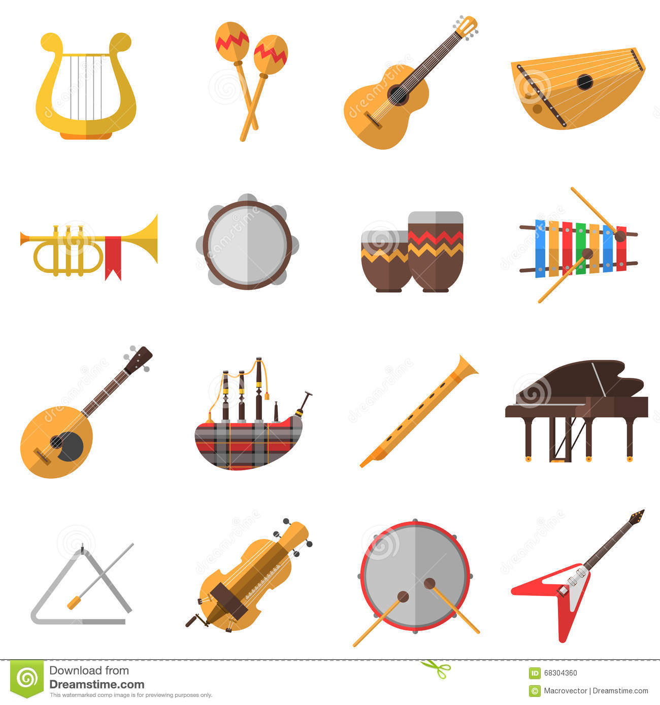 Musical Instruments Icons Set Stock Vector