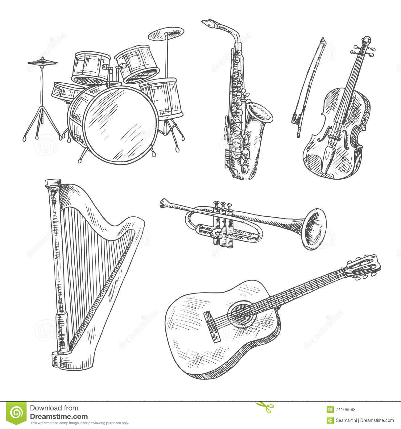 Musical Instruments Sketches For Arts Design Stock Vector