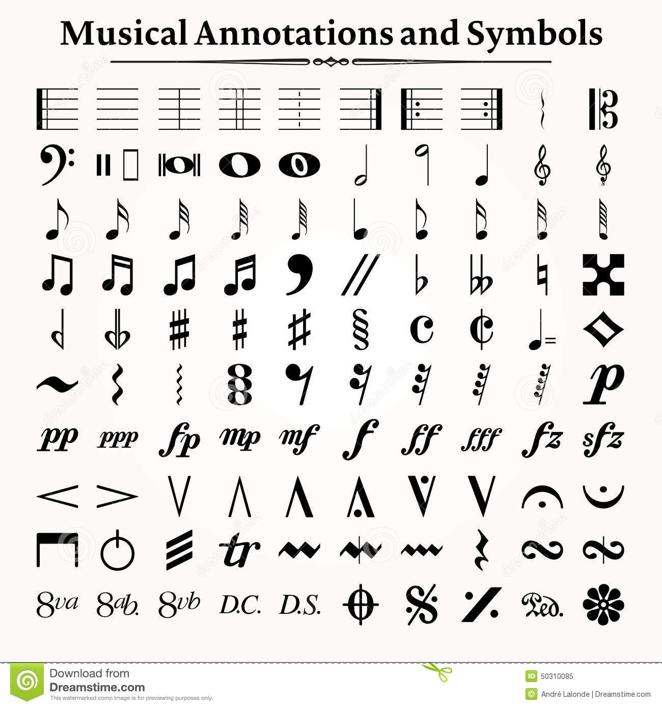 Musical Symbols And Annotations Stock Vector