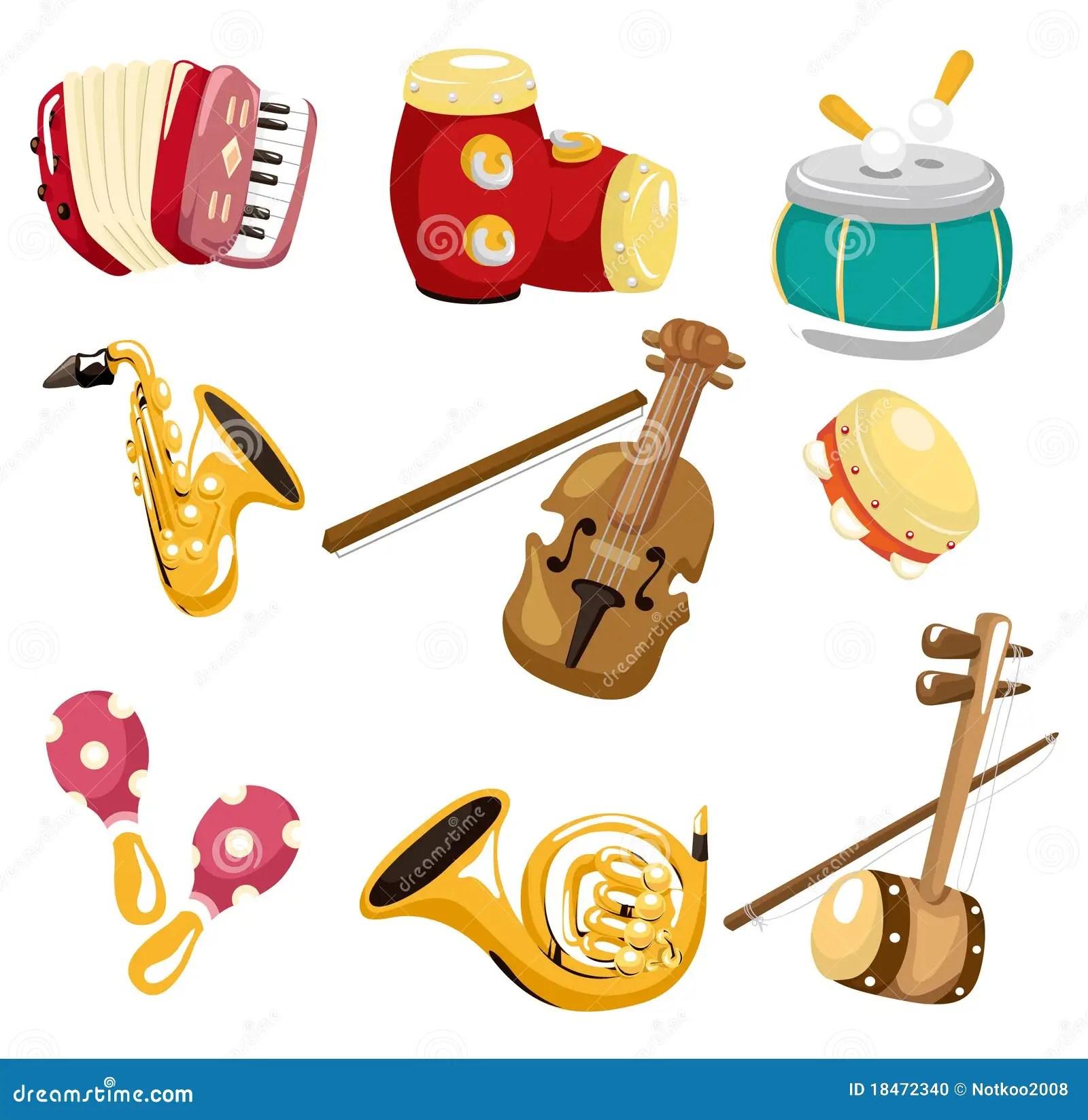 Musikal For Tecknad Filmsymbolsinstrument Arkivfoto