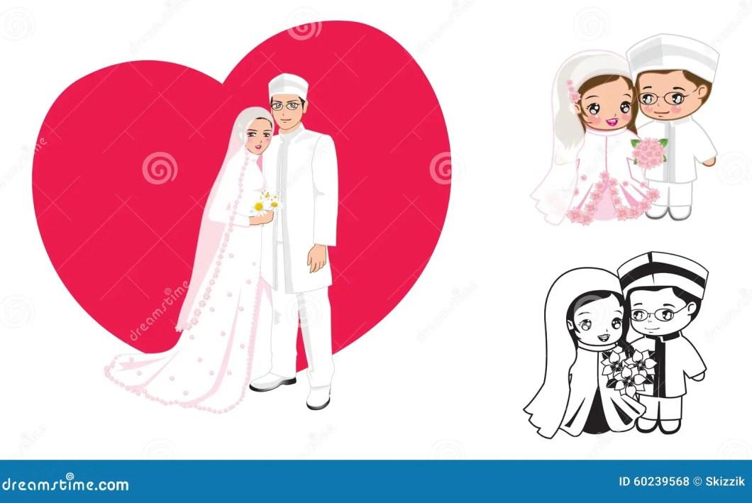Muslim Wedding Cartoon Stock Vector Ilration Of Cute 60239568