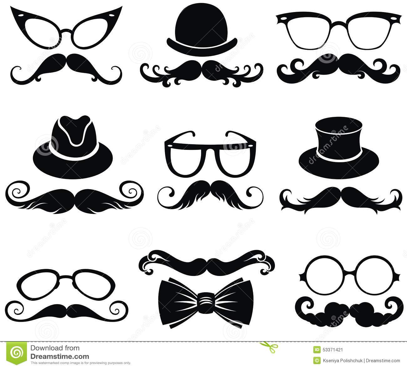 Mustachetro Party Setntleman S Hats Stock Vector