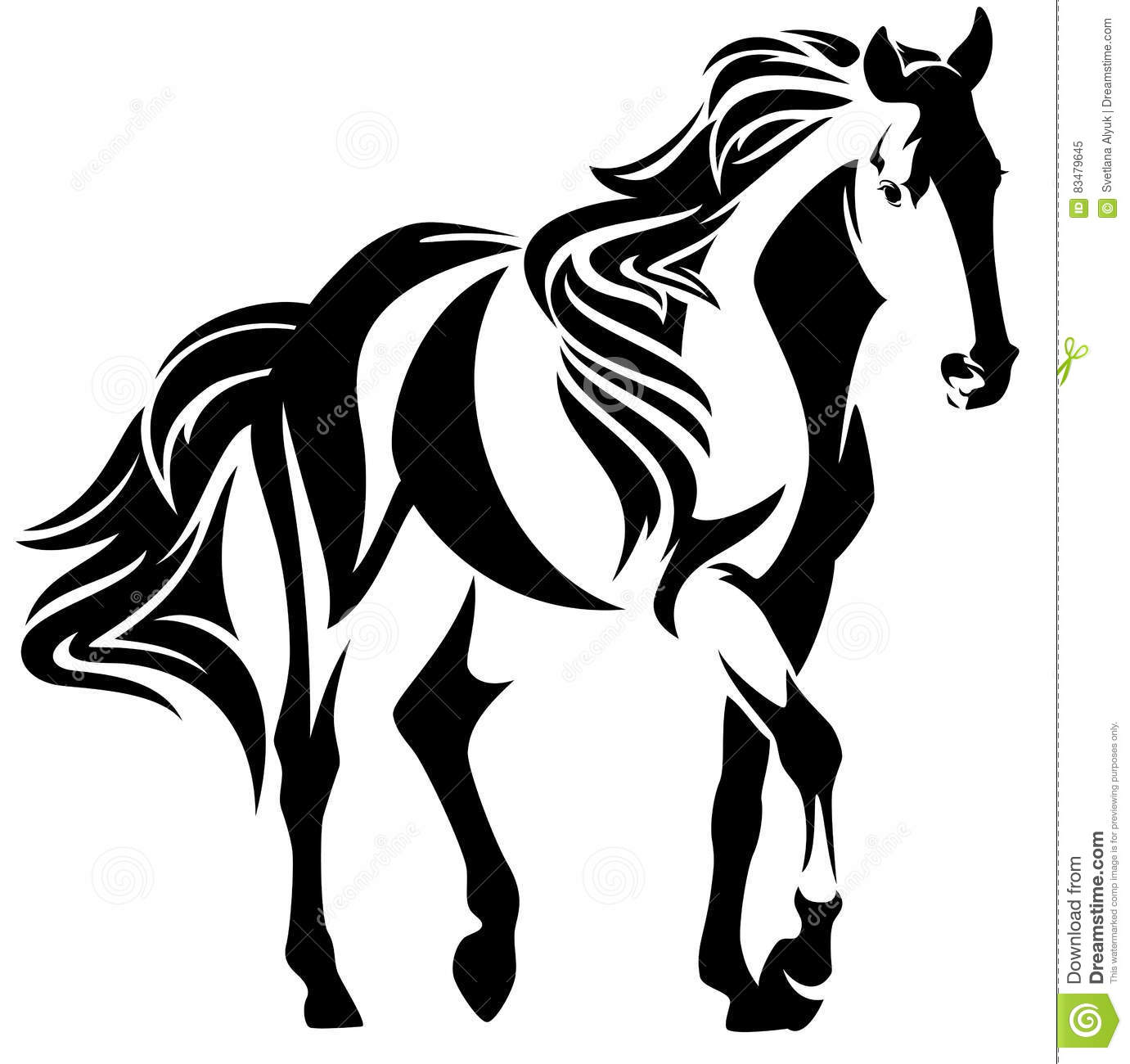 Mustang Horse Black And White Vector Design Stock Vector