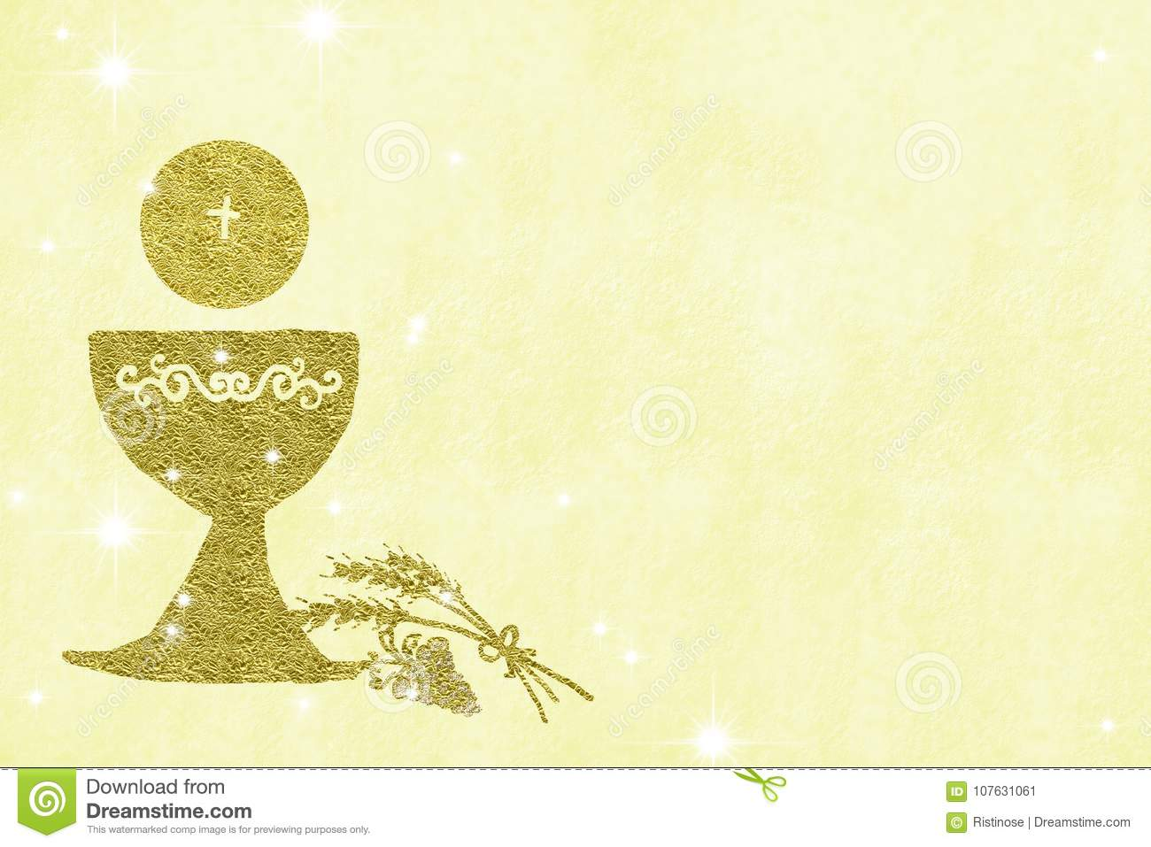 https www dreamstime com my first holy communion invitations gold chalice wheat grapes yellow background empty space text photos image107631061