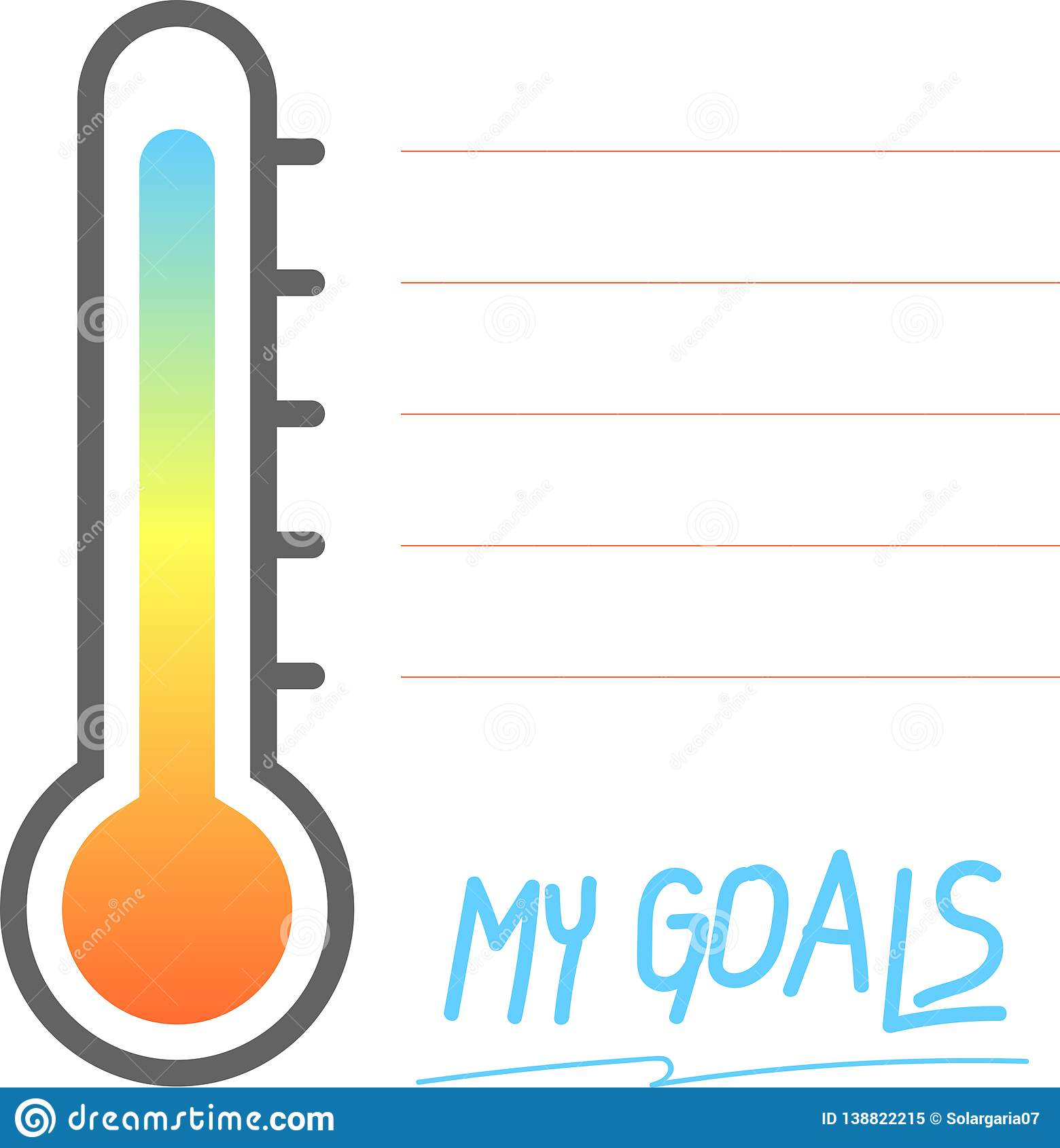 My Goals Printable With Thermometer Sign Vector
