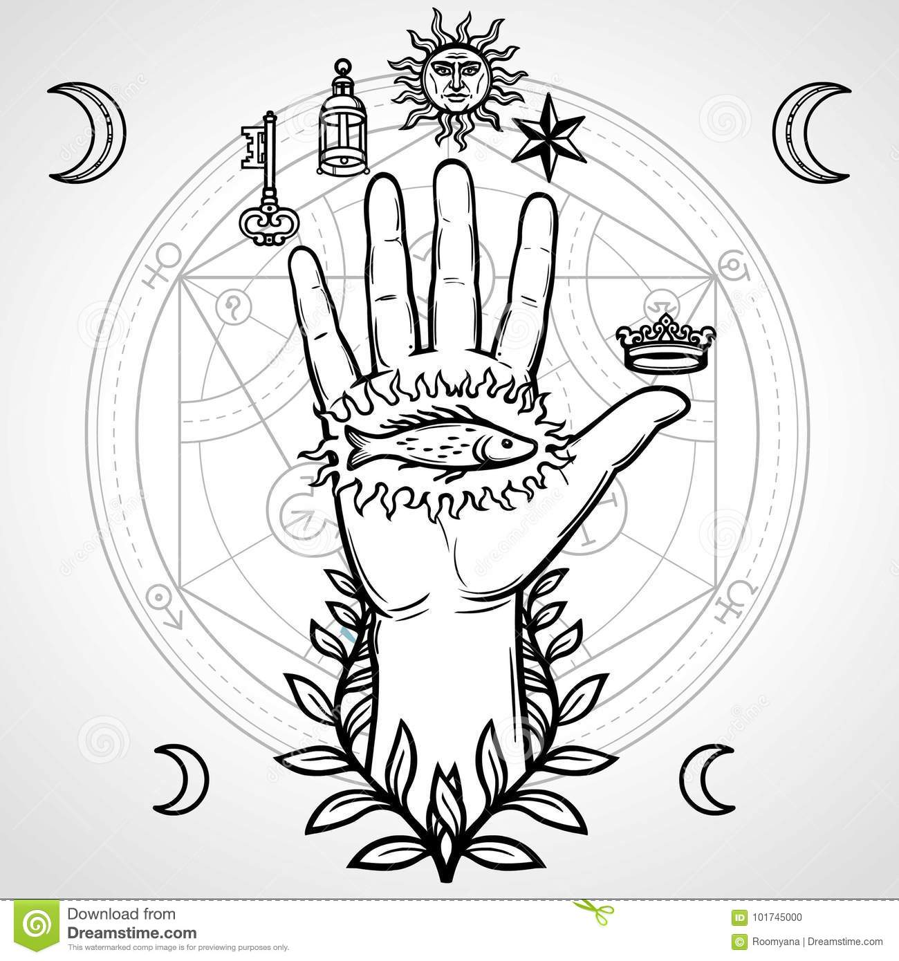 Mystical Symbol Human Hand Sacred Geometry Alchemical