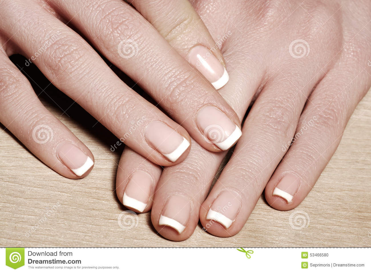 Nails With Perfect French Manicure Care For Female Hands
