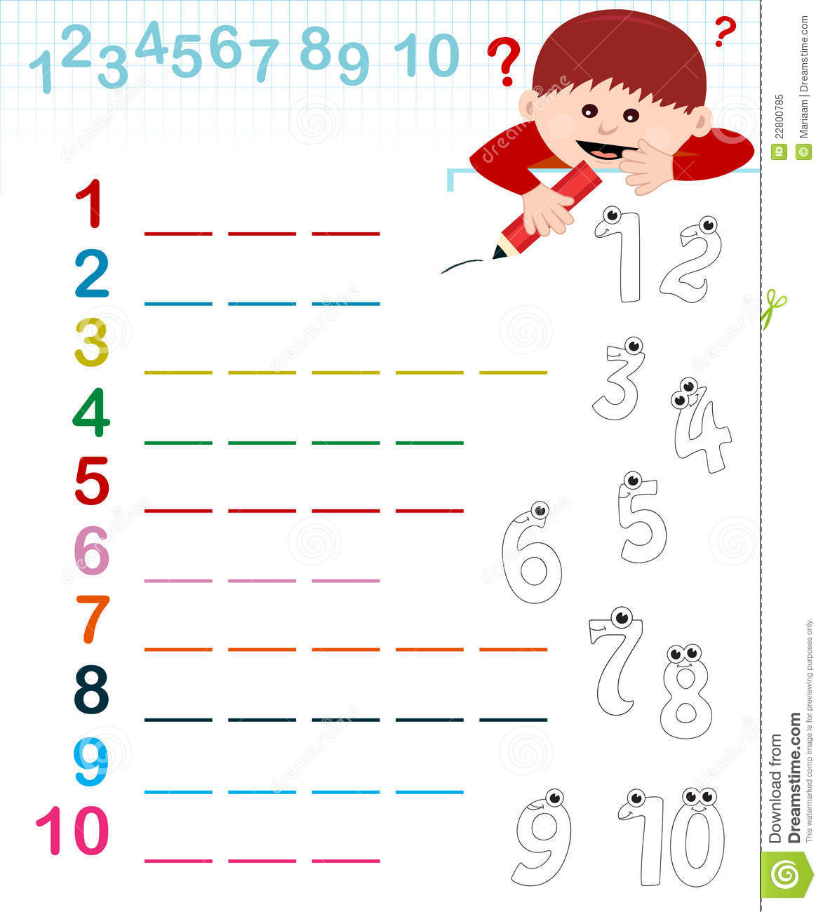 Name Of The Numbers Stock Illustration Illustration Of
