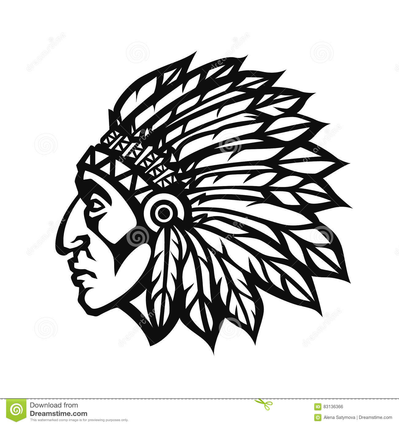 Apache Head Symbol Vector Cartoon Vector