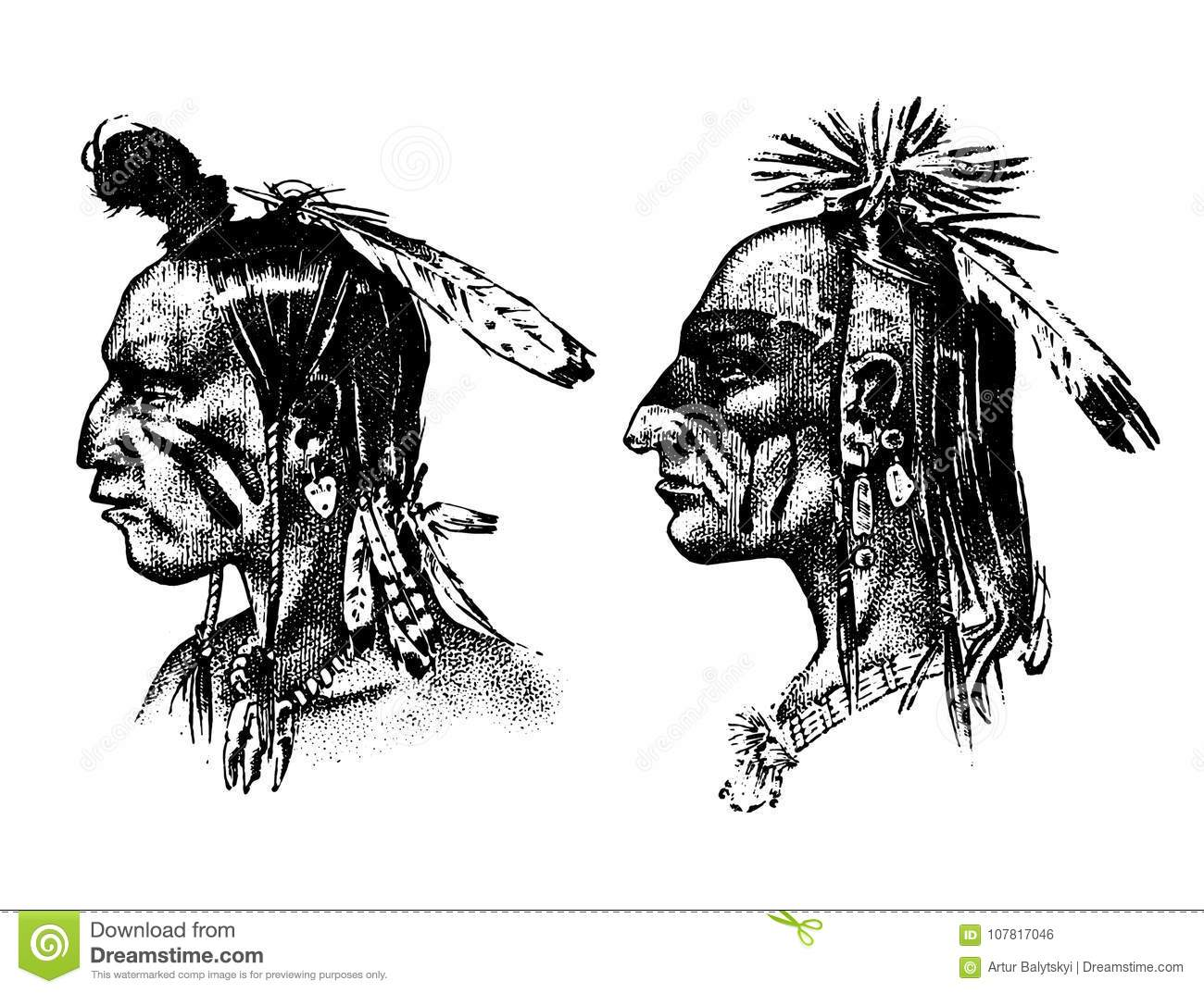 Native American Indian Head Cartoons Illustrations