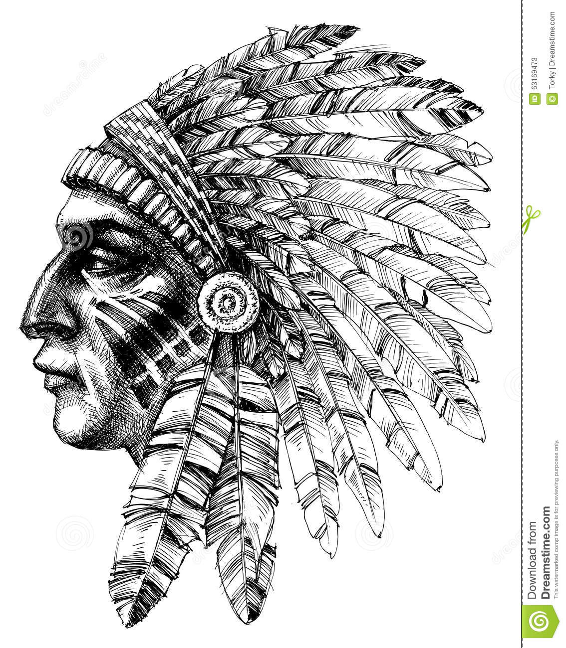 Native American Indian Profile Stock Vector