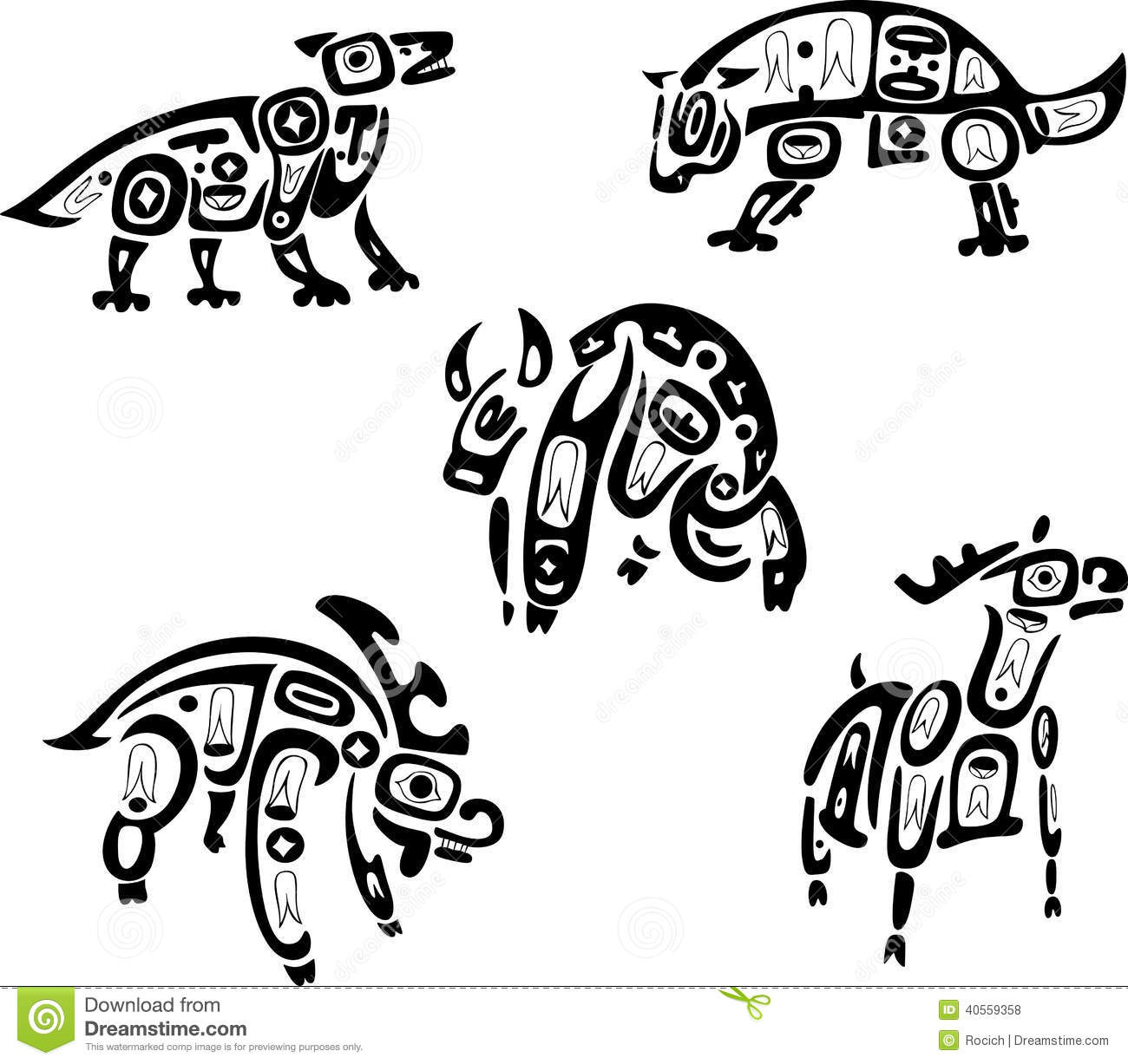 Native Indian Shoshone Tribal Drawings Animals Stock
