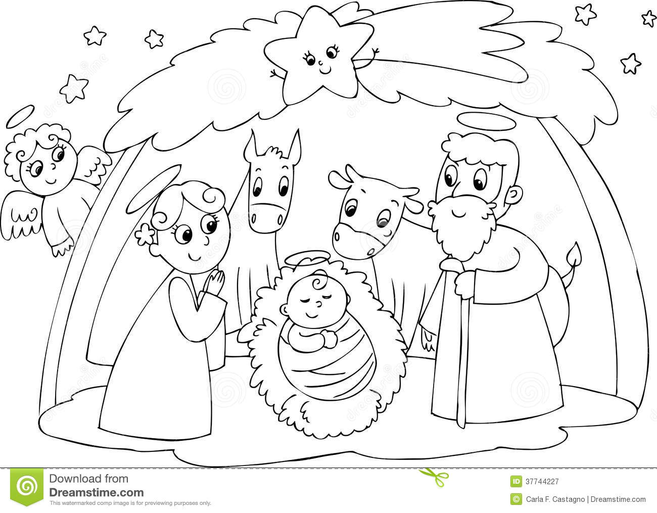 Nativity Mary Joseph And Jesus Stock Vector