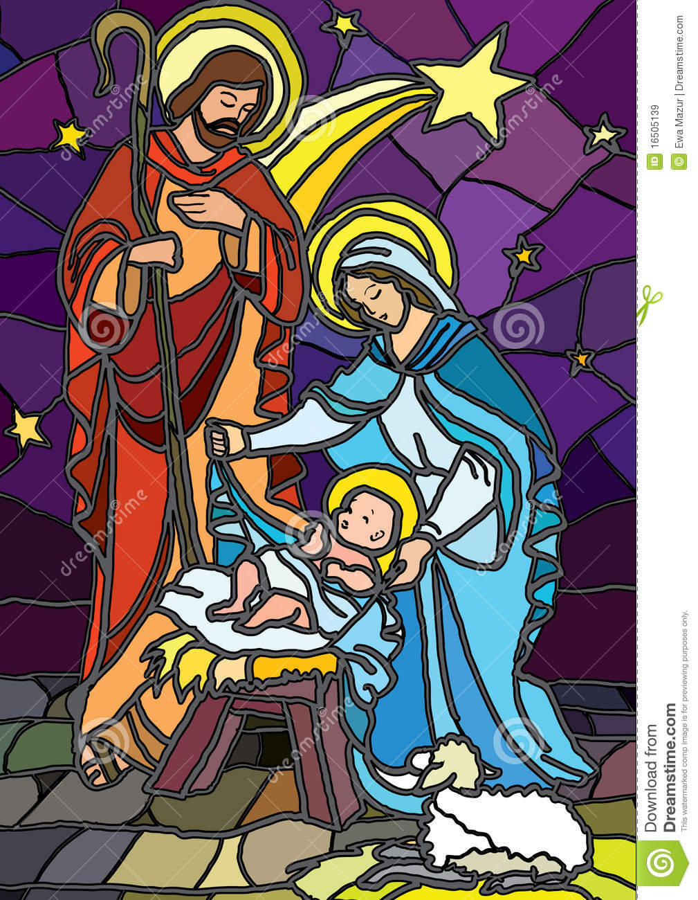 Nativity In Stained Glass Royalty Free Stock Images
