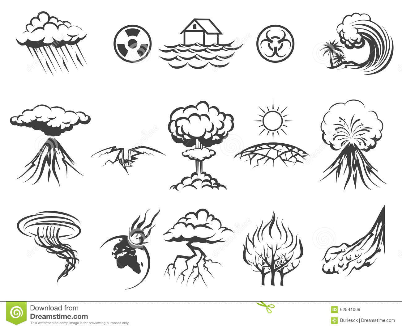Natural Disaster Icons Stock Vector