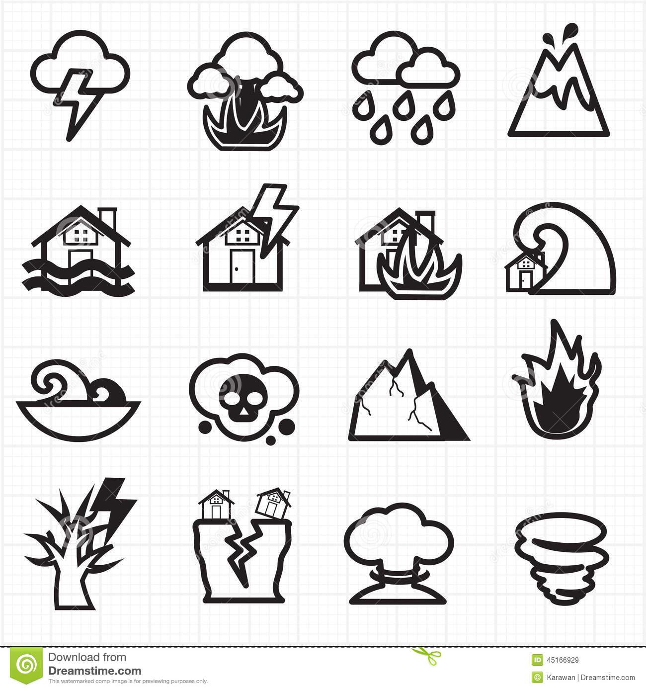 Natural Disaster Icons Vector Stock Vector