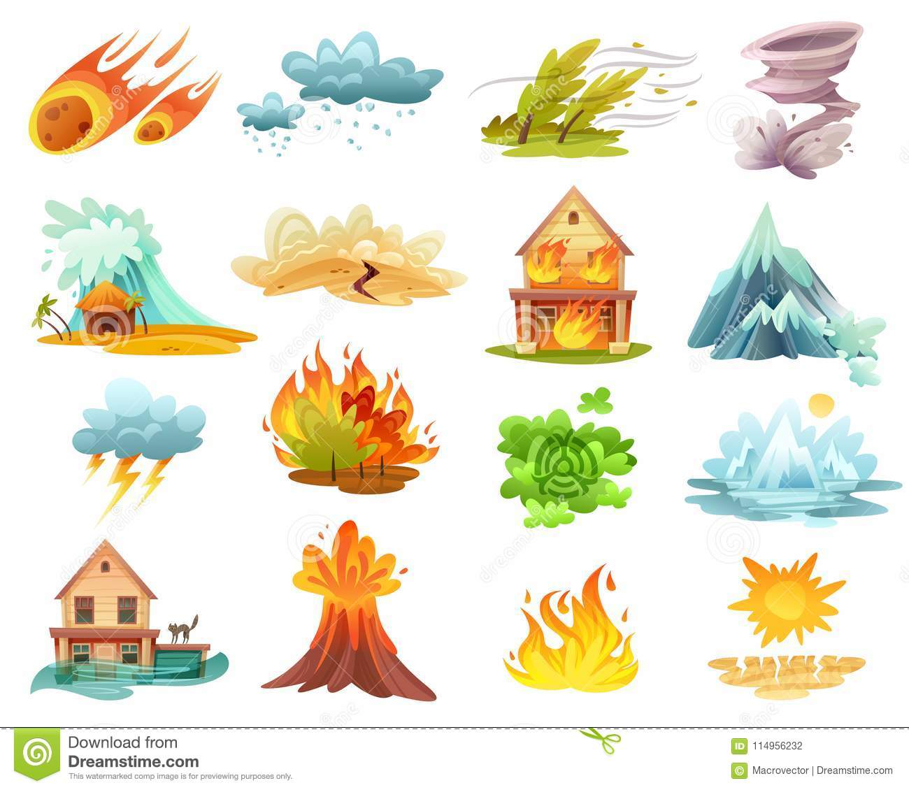 Natural Disasters Cartoon Icons Set Stock Vector