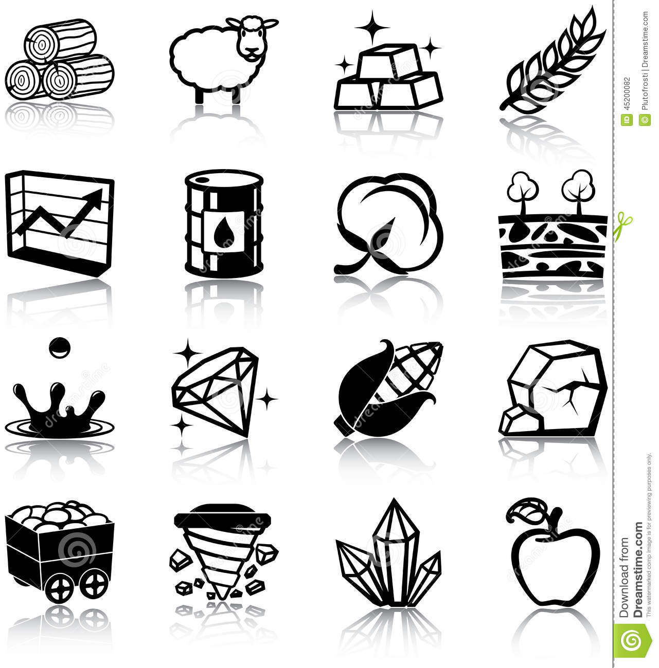 Natural Resources Icons Stock Vector Illustration Of Fuel