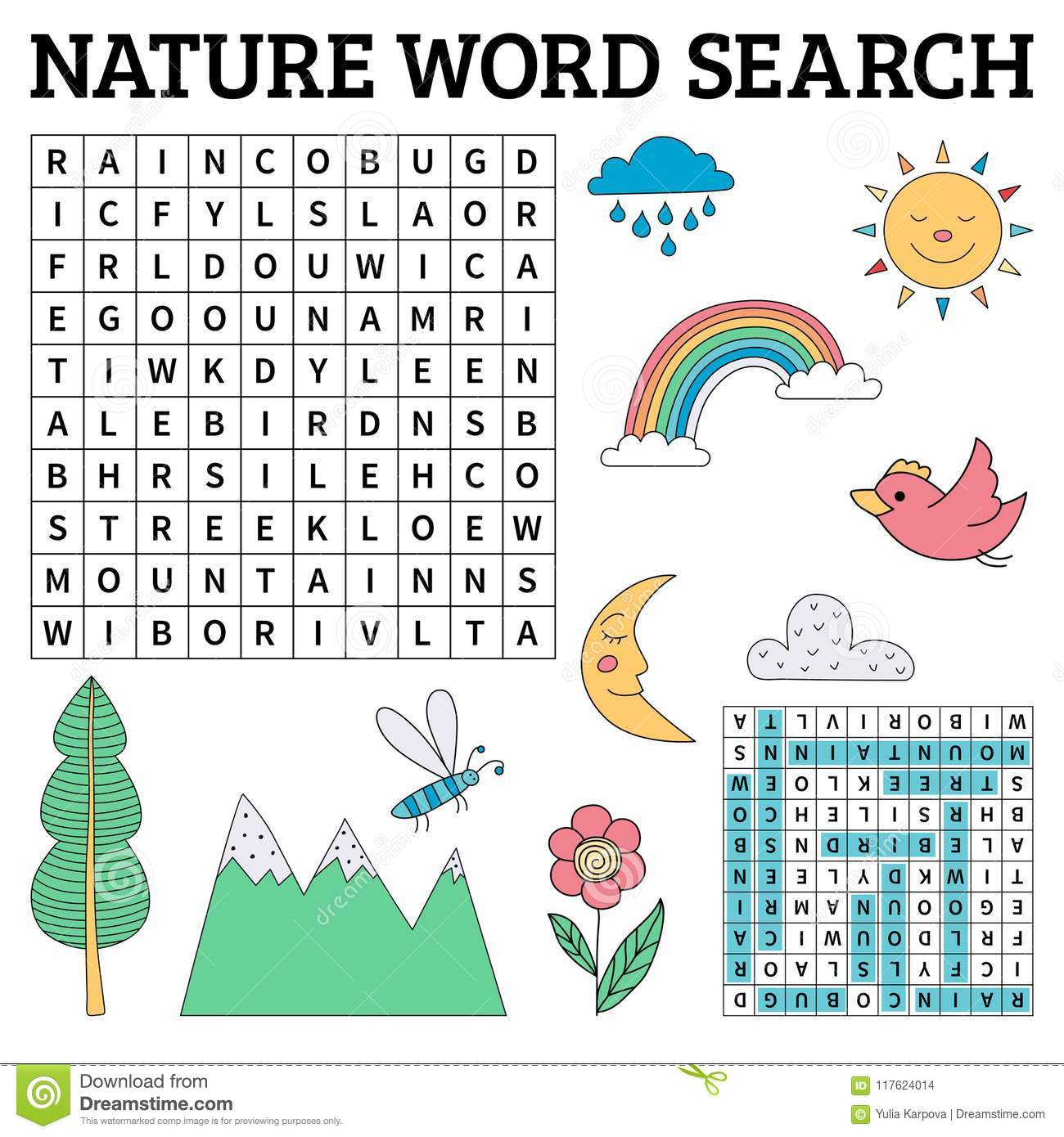 Nature Word Search Game For Kids In Vector Stock Vector